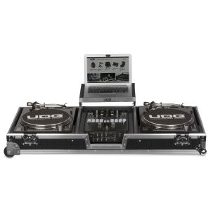 "UDG Ultimate Flight Case Set Multi Format Turntable Battle & 10""/12"" Mixer Silver Plus (Laptop Shelf + Wheels)"